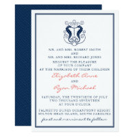 Rustic Seahorse Wedding Invitation- Navy and Coral Invitation