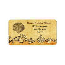 rustic seashell  beach wedding address labels