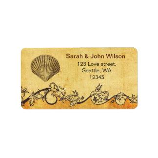 rustic seashell  beach wedding address labels