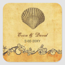 rustic seashell  beach wedding  envelopes seals