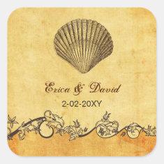 rustic seashell  beach wedding  envelopes seals square sticker