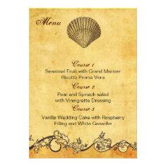 rustic seashell  beach wedding menu cards