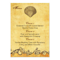 rustic seashell  beach wedding menu cards