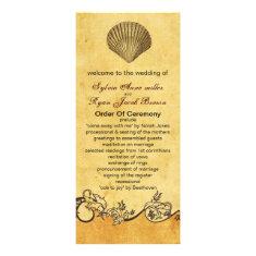 rustic seashell  beach wedding program custom rack card