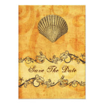 rustic seashell  beach wedding save the date card