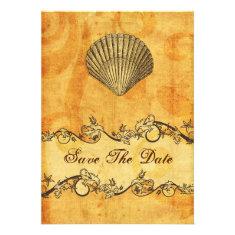 rustic seashell  beach wedding save the date custom invitation