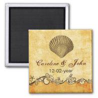 rustic seashell beach wedding save the date magnet