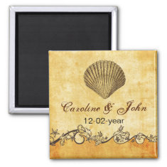 rustic seashell  beach wedding save the date magnet