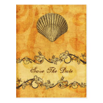 rustic seashell  beach wedding save the date postcard