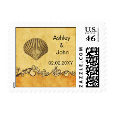 rustic seashell , beach  wedding stamps