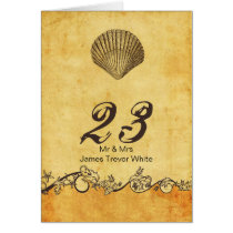 rustic seashell  beach wedding table numbers