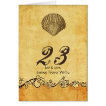 rustic seashell  beach wedding table numbers card