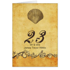 rustic seashell  beach wedding table numbers cards