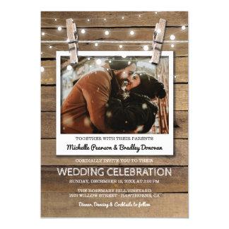 Rustic Selfie Photo Fairy Lights Winter Wedding Card