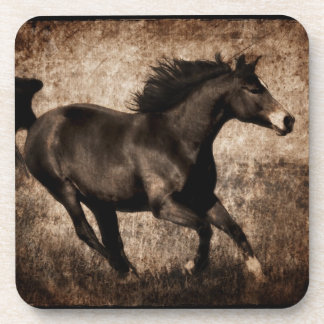 Rustic Sepia Galloping Horse Beverage Coaster