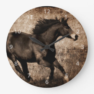 Rustic Sepia Galloping Horse Wallclock