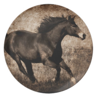 Rustic Sepia Galloping Horse Dinner Plate