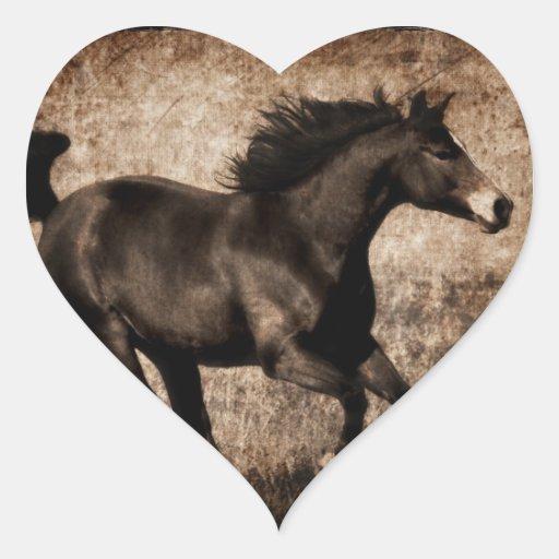 Rustic Sepia Galloping Horse Heart Sticker