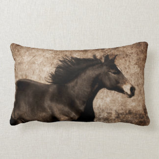Rustic Sepia Galloping Horse Lumbar Pillow