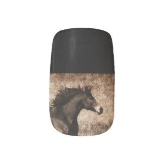 Rustic Sepia Galloping Horse Minx Nail Art