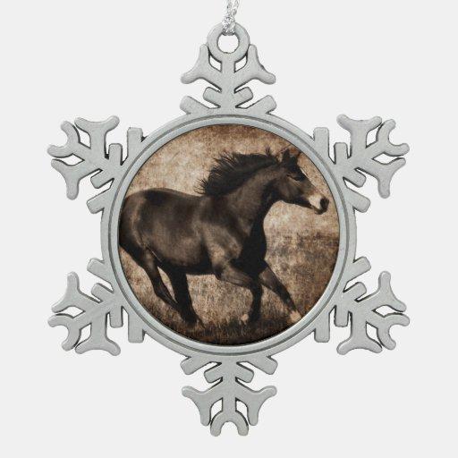 Rustic Sepia Galloping Horse Ornament