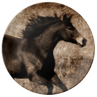 Rustic Sepia Galloping Horse Porcelain Plate