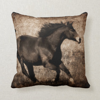 Rustic Sepia Galloping Horse Throw Pillow