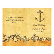 Rustic shabby chic anchor nautical Wedding program