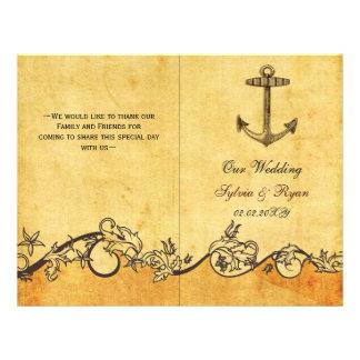 Rustic shabby chic anchor nautical Wedding program