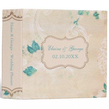 Rustic Shabby Chic Aqua Vintage Wedding Planner Binder