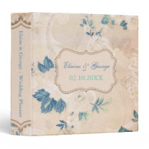 Rustic Shabby Chic Blue Vintage Wedding Planner 3 Ring Binder