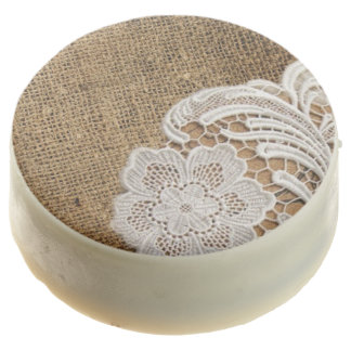 rustic shabby chic girly country burlap and lace chocolate dipped oreo