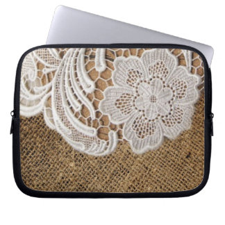 rustic shabby chic girly country burlap and lace laptop sleeve