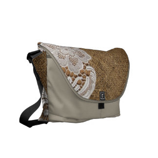 rustic shabby chic girly country burlap and lace messenger bag