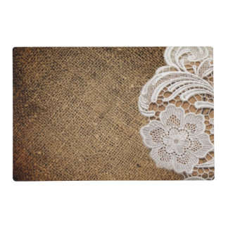 rustic shabby chic girly country burlap and lace placemat