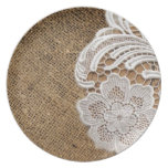 rustic shabby chic girly country burlap and lace party plates