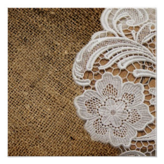 rustic shabby chic girly country burlap and lace poster