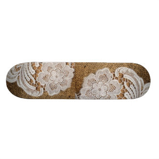 rustic shabby chic girly country burlap and lace skateboard deck