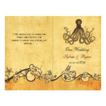 Rustic shabby chic octopus beach Wedding program