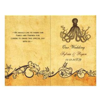Rustic shabby chic octopus beach Wedding program