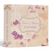 Rustic Shabby Chic Pink Vintage Wedding Planner 3 Ring Binder