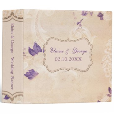 Rustic Shabby Chic Purple Vintage Wedding Planner Binder