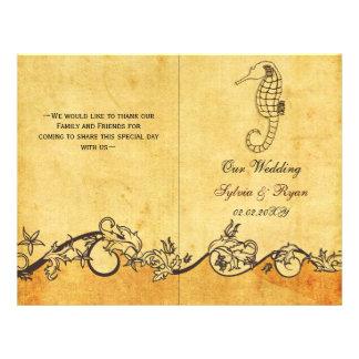 Rustic shabby chic sea horse beach Wedding program