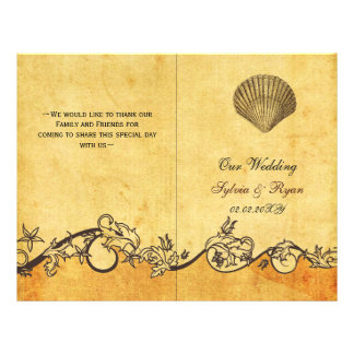 Rustic shabby chic seashell beach Wedding program