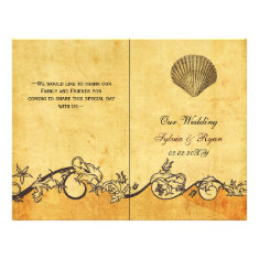 Rustic shabby chic seashell beach Wedding program Personalized Flyer