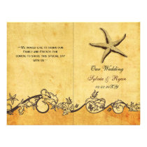 Rustic shabby chic star fish beach Wedding program