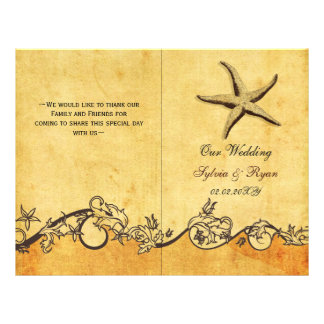 Rustic shabby chic star fish beach Wedding program