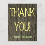"[ Thumbnail: Rustic, Shabby Chic ""Thank You!"" Postcard ]"