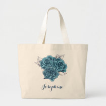 Rustic Shabby Chic Vintage Blue Roses tote