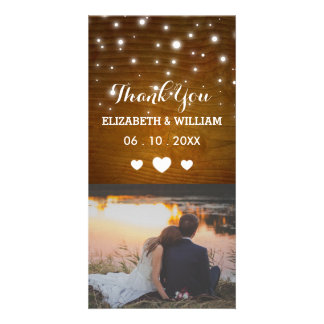 Rustic Shabby Chic Wedding Thank You Photo Card